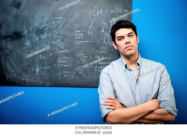 Businessman in front of blackboard