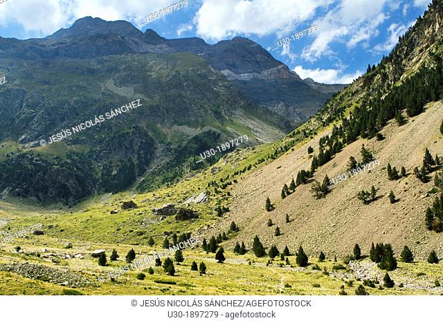 Landscape of Barrosa valley, a typical glacier valley of aragonese Pyrenees  Huesca  Spain