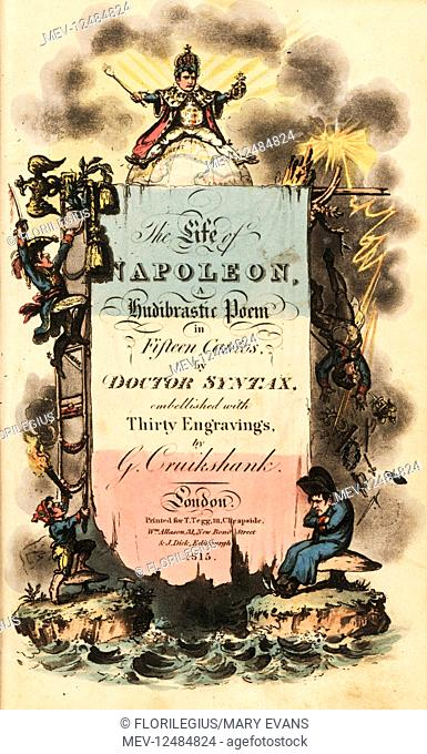 Title page with calligraphy and vignettes. Handcoloured copperplate engraving by George Cruikshank from The Life of Napoleon a Hudibrastic Poem by Doctor Syntax