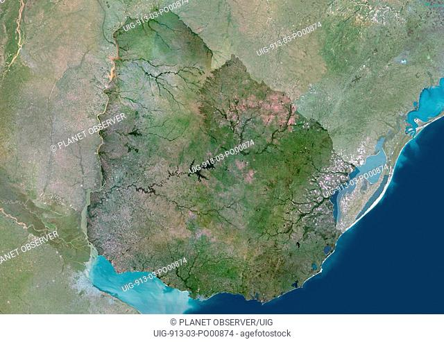 Uruguay, South America, True Colour Satellite Image With Mask. Satellite view of Uruguay with mask. This image was compiled from data acquired by LANDSAT 5 & 7...