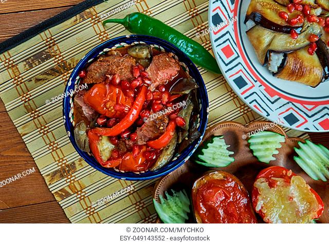 Turkish lamd Guvech. Traditional assorted turkish dishes, Top view. Eastern food