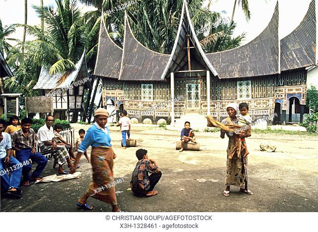 traditional roof shapes of the Minangkabau houses, Sumatra island, Republic of Indonesia, Southeast Asia and Oceania