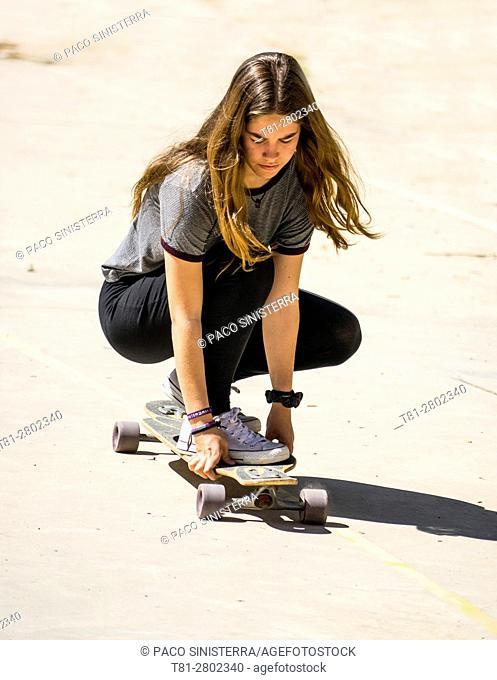 blonde girl skate