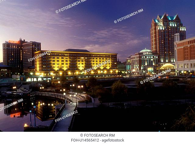Providence, Rhode Island, RI, Waterplace Park along the Woonasquatucket River in downtown Providence in the evening