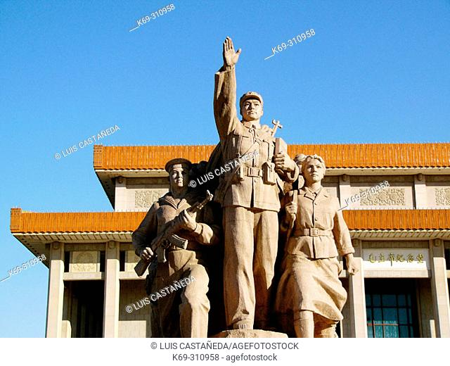 Statues in front of Memorial Hall of Chairman Mao. Beijing. China