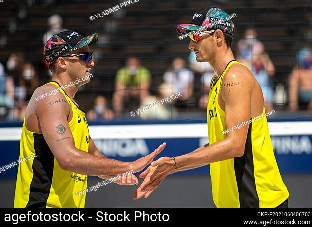 George Souto Maior Wanderley, left, and Andre Loyola Stein of Brasil in action during the Ostrava Beach Open 2021 tournament
