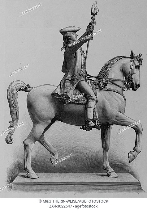 Lafayette statue offered by the USA in Paris, Picture from the French weekly newspaper l'Illustration, 7th July 1900
