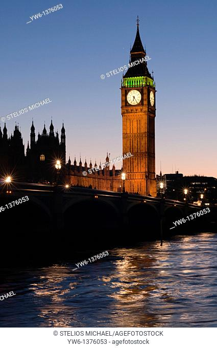 Big Ben clock tower during evening twilight, London,England