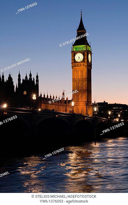 Big Ben clock tower during evening twilight, London,England