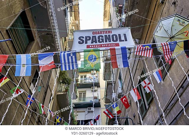 Naples Campania Italy. Street signs at Quartieri Spagnoli(Spanish Quarters), a part of the city ofNaplesinItaly. It is a poor area
