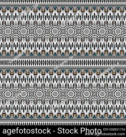 Artsy and complex geometric pattern, mostly in black and white, and a few color shades