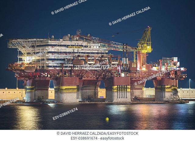 Petrobras oil platform docked at Tenerife port
