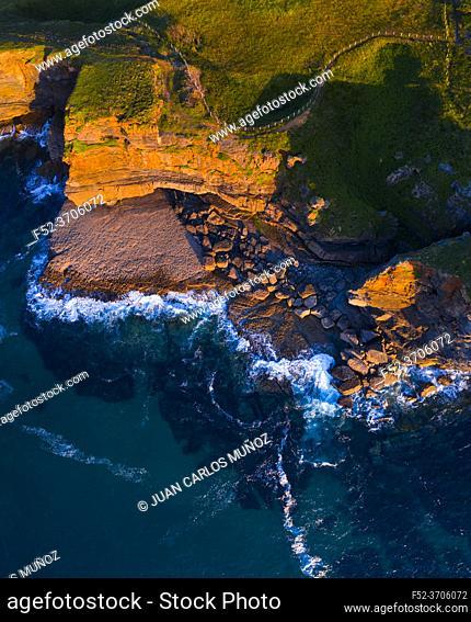 Aerial view, Cliffs of Arnuero, Ecoparque de Trasmiera, Arnuero, Cantabrian Sea, Cantabria, Spain, Europe