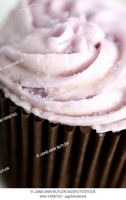 naughty but nice cup cake with pink swirl icing