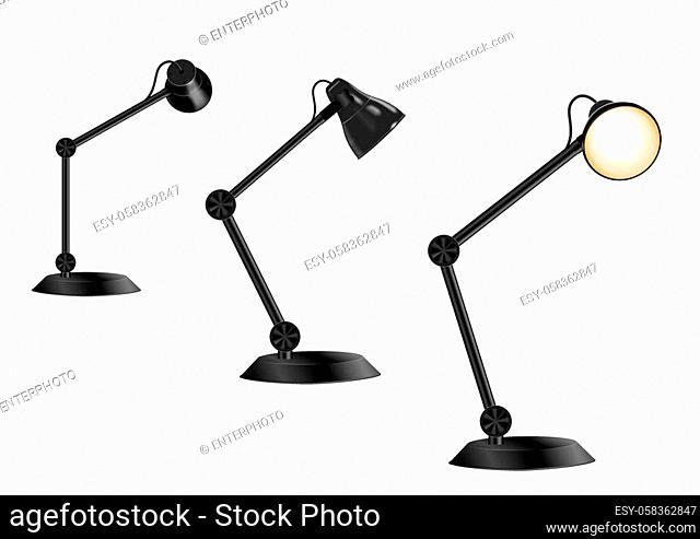 set of vintage desk lamp isolated on white background, vector illustration