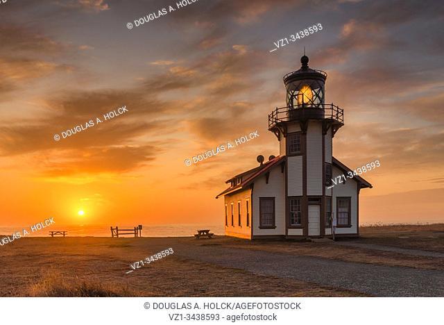 Setting Sun on Pt. Cabrillo Lighthouse Medocino Coast CA