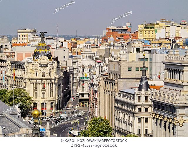 Spain, Madrid, View from the Cybele Palace towards the Alcala Street and the Metropolis Building