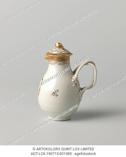Milk jug with monogram and ornamental borders, Porcelain milk jug lid, painted on the glaze in red, pink, green, purple, black and gold