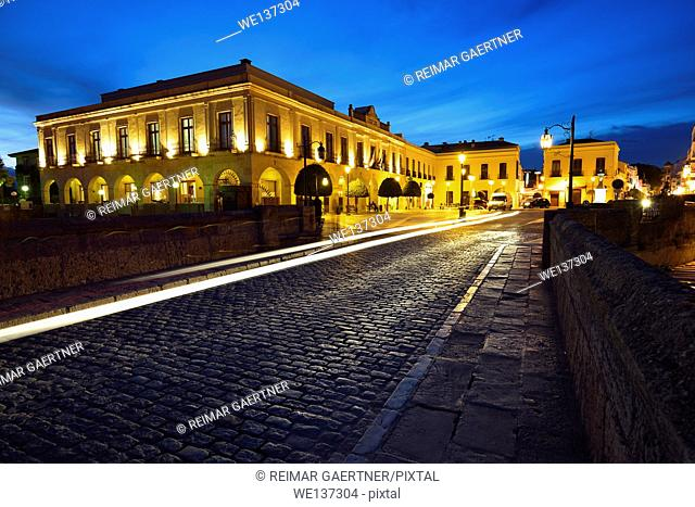Car light trails at twilight on the Puente Nuevo bridge in Ronda Spain