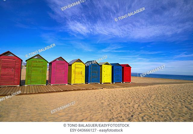 San Juan of Alicante beach playa at Costa blanca of Spain colorful houses
