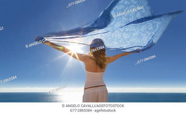 Young woman on the beach of Miami Beach, Florida, Usa