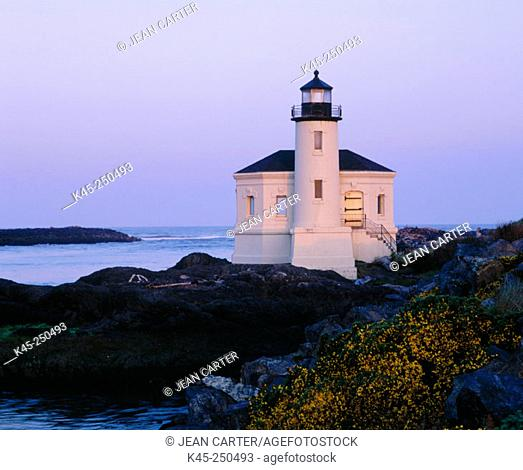 Coquille River Lighthouse at Bullard's Beach State Park, Southern Oregon Coast, USA