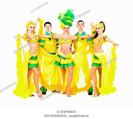 Sexy carnival dancers posing against isolated white background