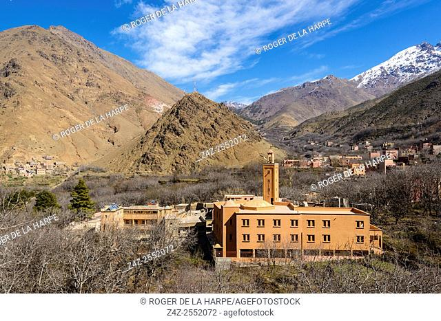 High Atlas Mountains showing Ber Ber (berber or Bier Bier) villages, Mosques and homes. Imlil. Morocco