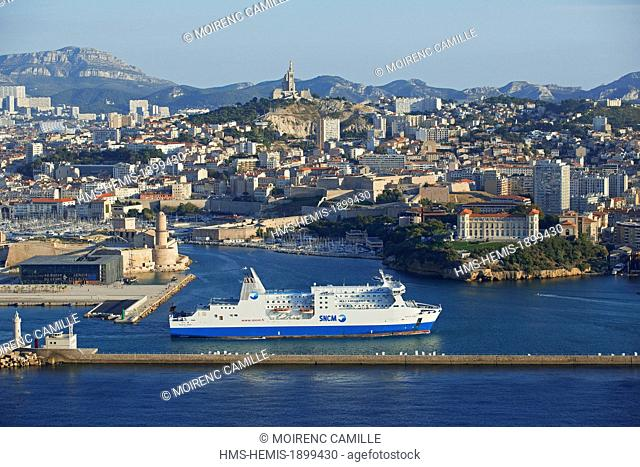 France, Bouches du Rhone, Marseille, Euromediterranee area, the Fort Saint Jean Historical Monument and the Esplanade of j4