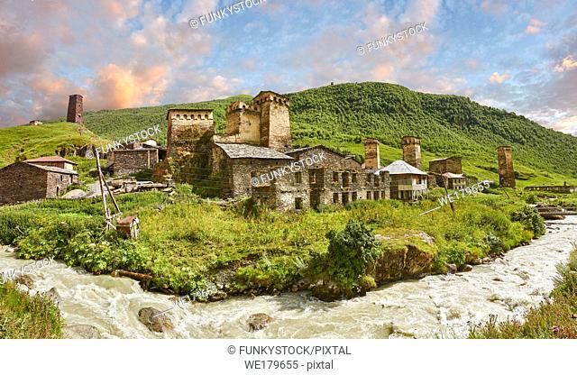 Stone Svaneti tower houses of Chazhashi, Ushguli, Upper Svaneti