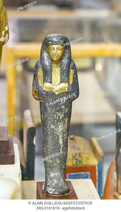 Egypt, Cairo, Egyptian Museum, from the tomb of Yuya and Thuya in Luxor : Ushebti, in wood covered with silver foils. The face, necklace and hands are gilded