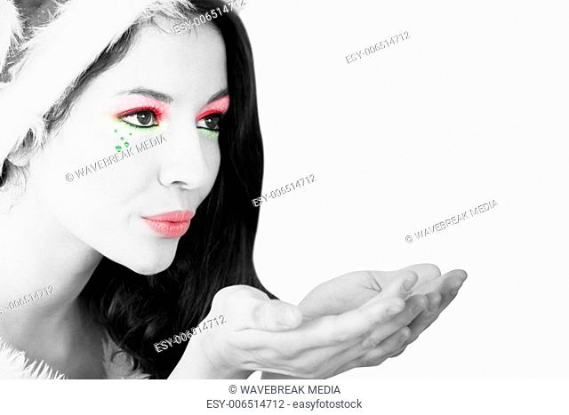 Girl with festive makeup in black and white