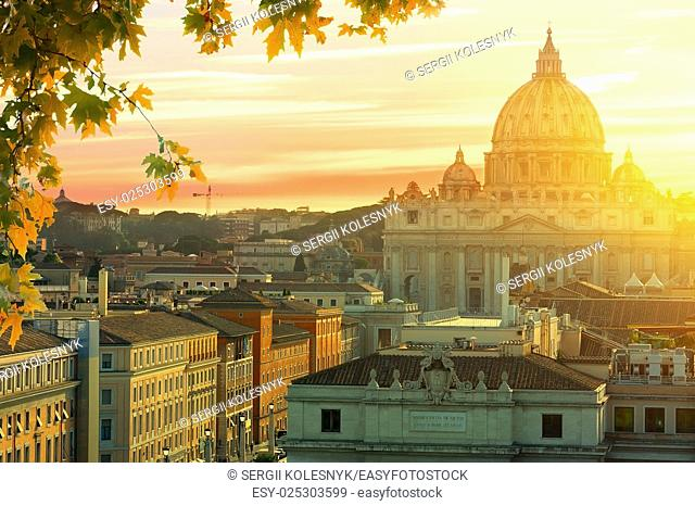 Beautiful sunset over Vatican in summer, Italy