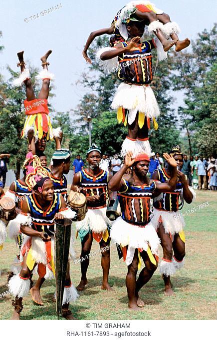 Nigerian locals at tribal gathering cultural event at Enugu in Nigeria, West Africa