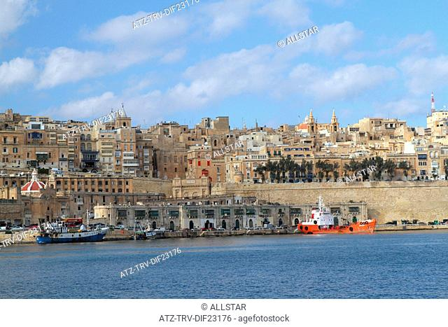 QUARY WHARF & RED SHIP; VALLETTA, MALTA; 05/12/2013