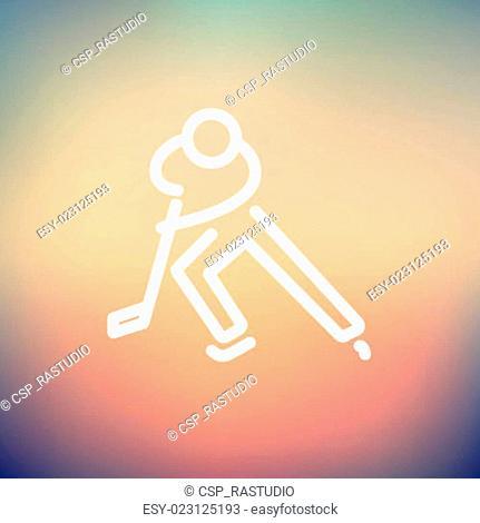 Moving hockey player thin line icon