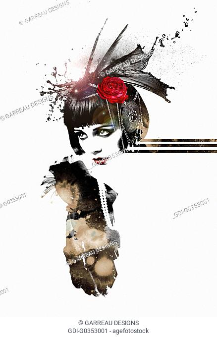 Flapper girl on white background