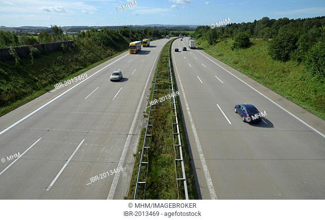Traffic on Autobahn 4 motorway near Frankenberg, Saxony, Germany, Europe