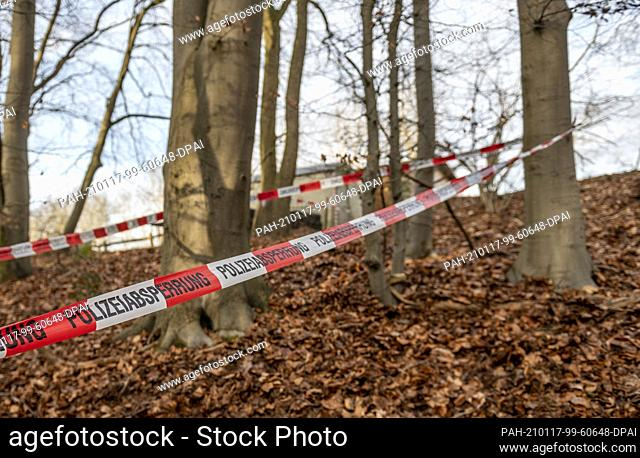 dpatop - 17 January 2021, Lower Saxony, Seevetal: Police tape is wrapped around several trees in a wooded area where there is also a trailer and a wooden hut