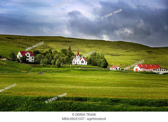 farm with church near Hvolsvollur, Iceland, South West Iceland, Golden Circle tour