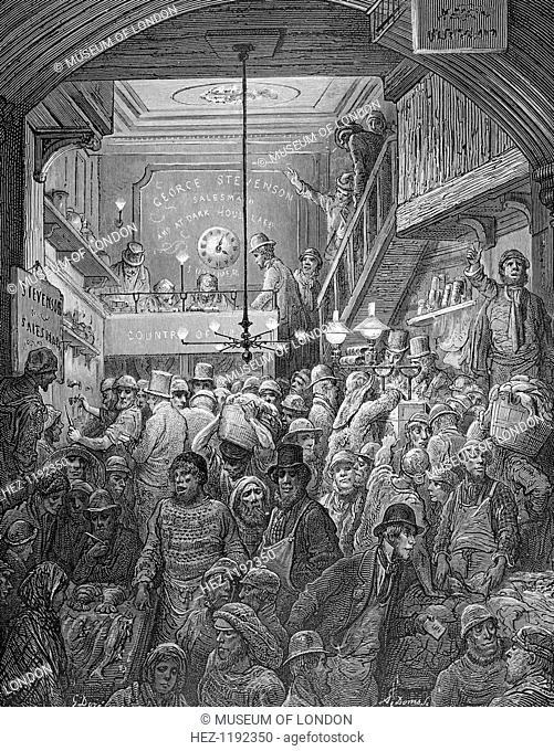 'Billingsgate - Early Morning', 1872. Taken from London: A Piligrimage by Blanchard Jerrold and Gustave Doré. A Pilgrimage was a comprehensive portrait of...