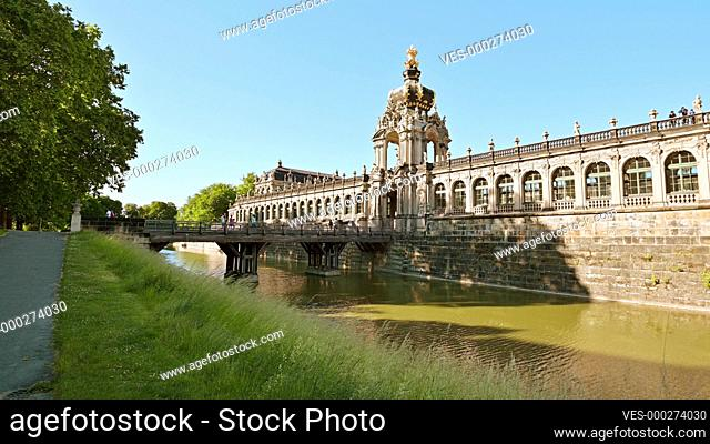 4K Video of the Crown gate (Kronentor) entrance of the Zwinger Palace at the old town of Dresden, Saxon, Germany