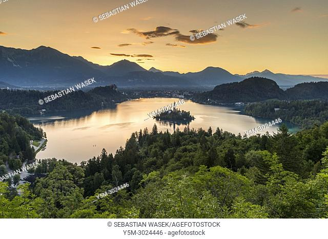 Lake Bled seen from Ojstrica, Upper Carniola, Slovenia, Europe