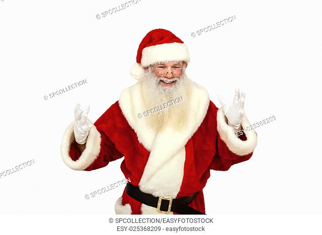 Santa Claus with real beard welcomes somebody (isolated)