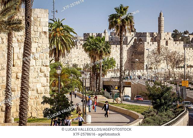 Walls and the Citadel of David in the Old City of Jerusalem, Israel