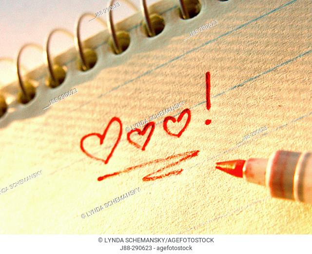 Love note in spiral notebook