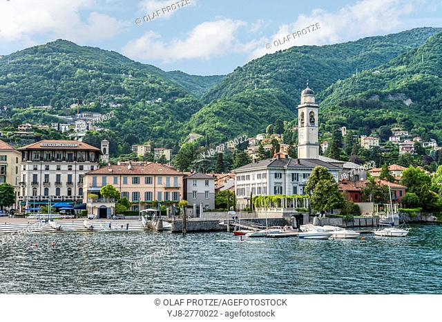 Waterfront of Cernobbia at Lake Como seen from the lakeside, Lombardy, Italy