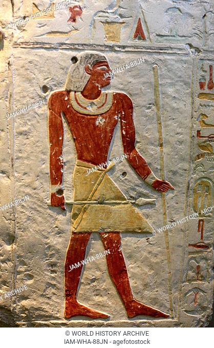 Tomb Slab of Neferseshempepy. Limestone, late Old Kingdom, about 2150 BC. From his tomb at Dendera. The slab bear an offering formula and some of...