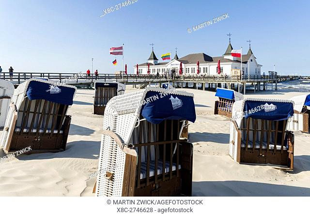 The famous pier in Ahlbeck, an iconic building in traditional german resort architecture (Baederarchitektur) on the island of Usedom