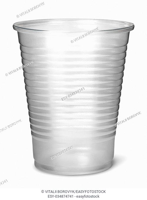 Single plastic cup vertically isolated on white background